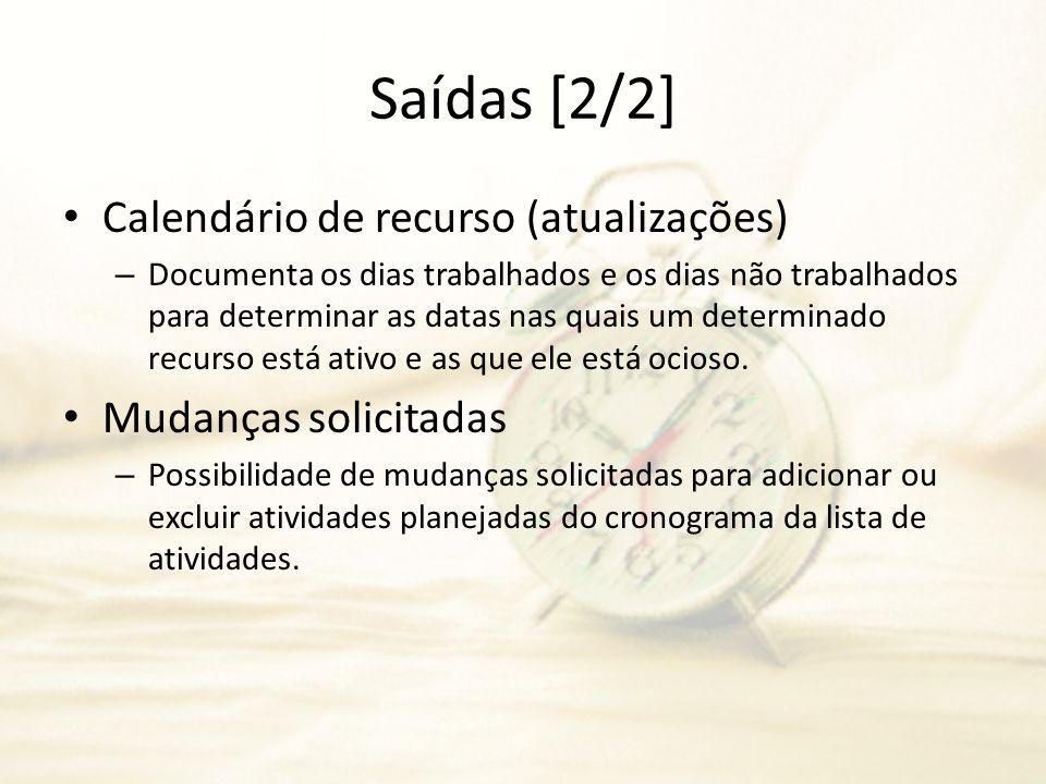 Saídas [2/2] Calendário de recurso (atualizações) Mudanças solicitadas